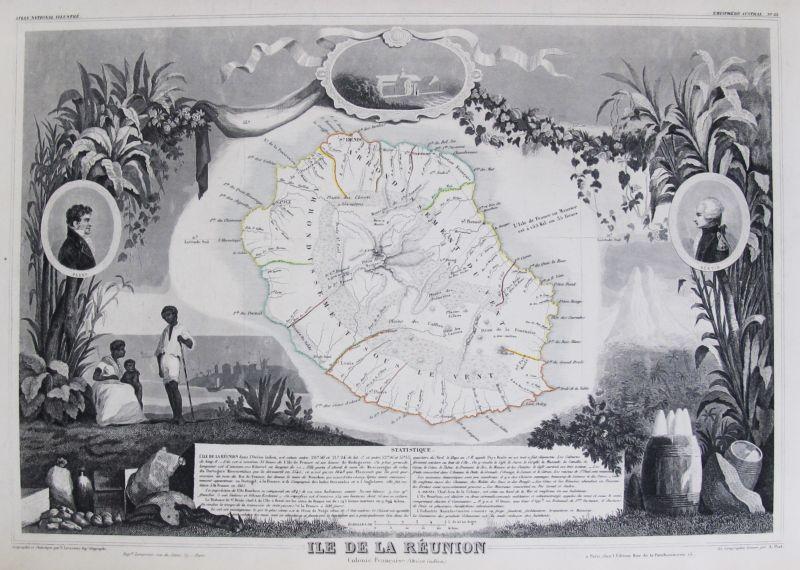 Ile De La Réunion Colonie Française Océan Indien Mapas